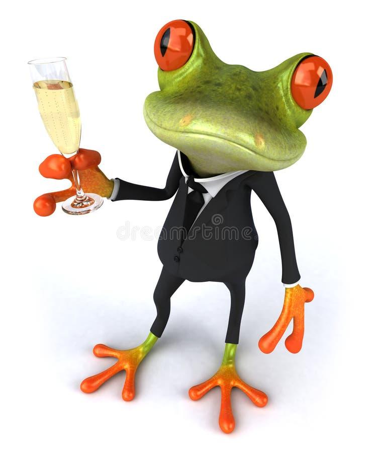Rana e champagne di affari illustrazione di stock