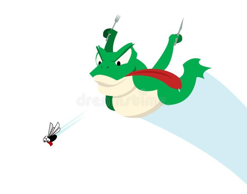 Rana e mosca - inseguimento royalty illustrazione gratis