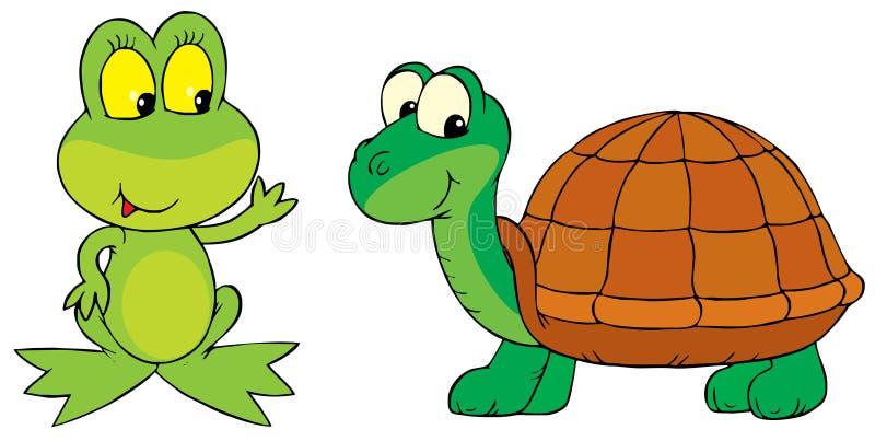 Rana e tartaruga illustrazione vettoriale