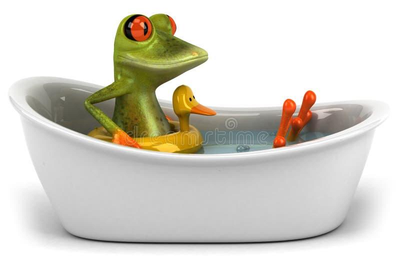 Rana en un baño stock de ilustración