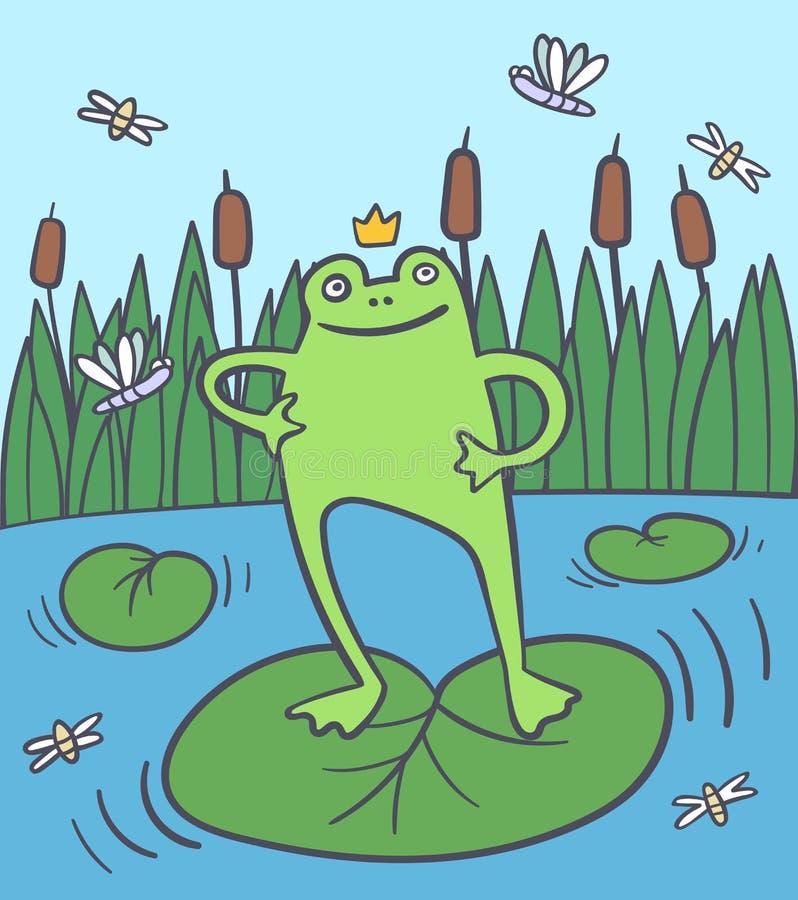 Rana feliz en el pantano juncoso con las moscas, libélula stock de ilustración