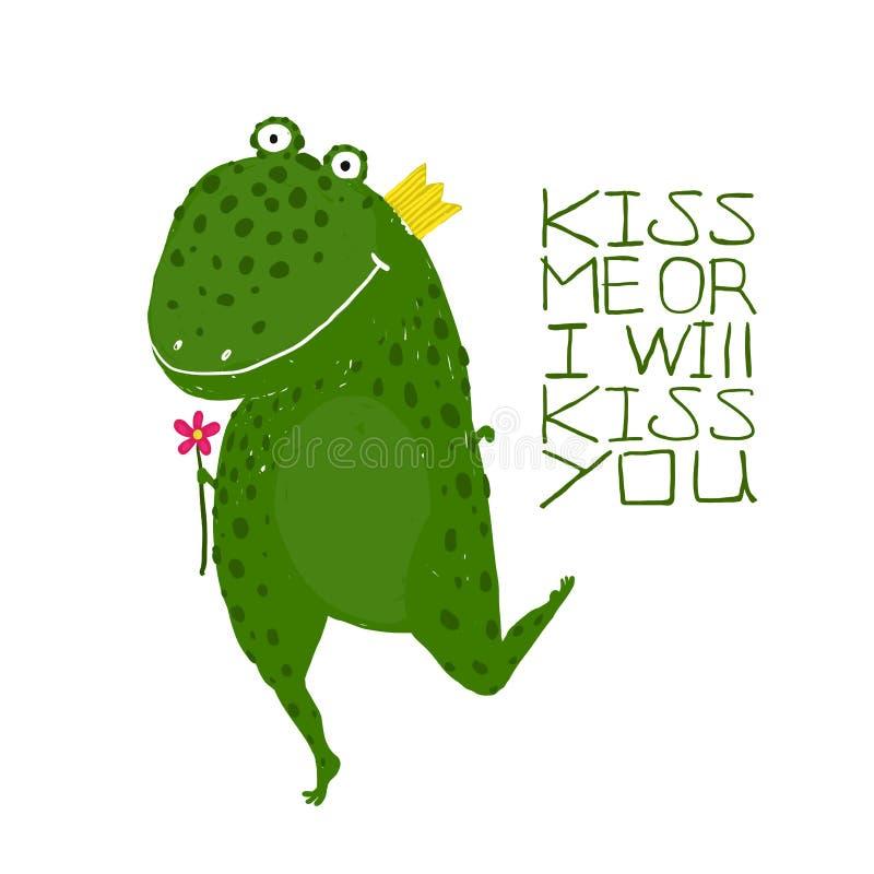 Rana mágica verde de la diversión que pide la sonrisa del beso ilustración del vector