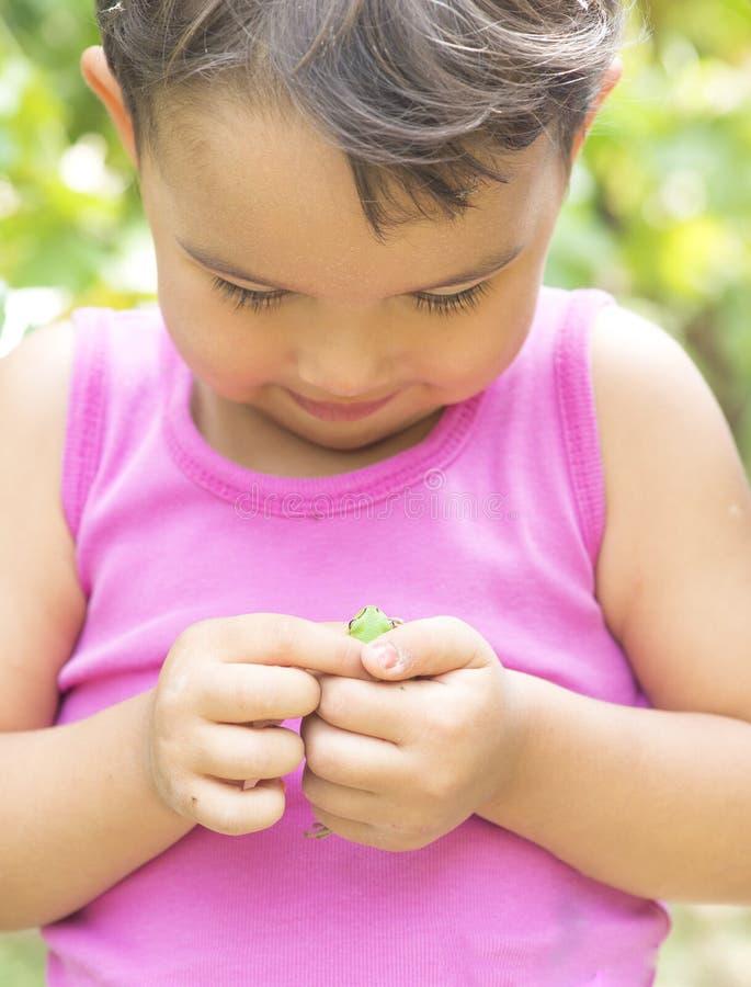 Rana minúscula en las manos de la niña fotografía de archivo libre de regalías