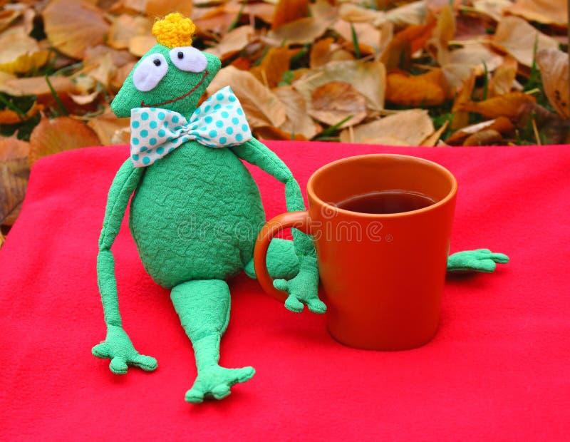 Rana molle divertente di principe del giocattolo con la tazza di tè su tappeto rosso e sulle foglie cadute che aspettano amore e  immagine stock