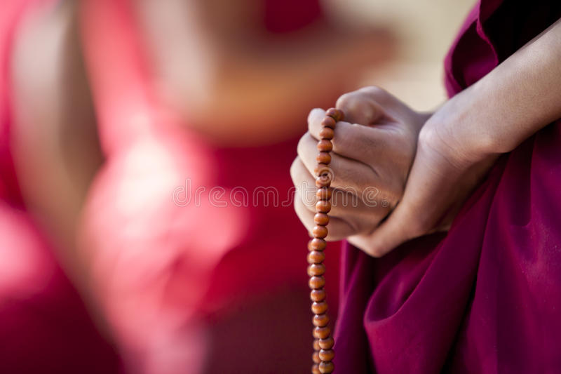 Rana pescatrice con i branelli di preghiera fotografia stock