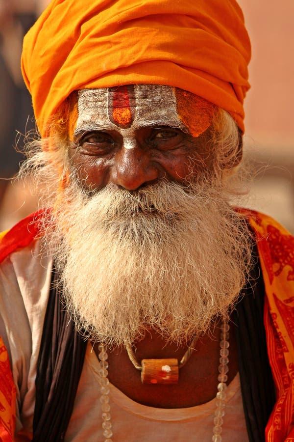 Rana pescatrice indù in vestito tradizionale all'India fotografie stock
