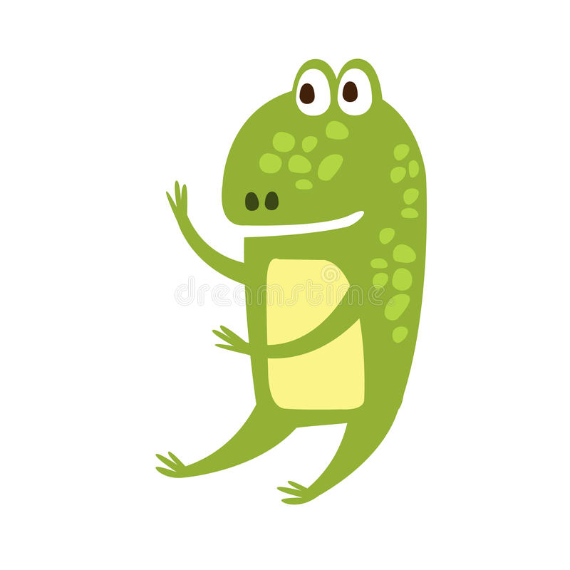 Rana que se sienta como el dibujo de carácter animal de la historieta del reptil amistoso plano humano del verde stock de ilustración