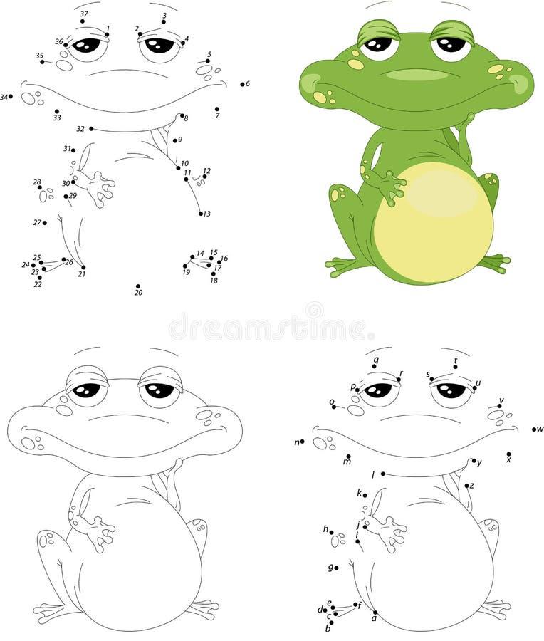 Rana verde de la historieta Libro de colorear y punto para puntear el juego para los niños ilustración del vector