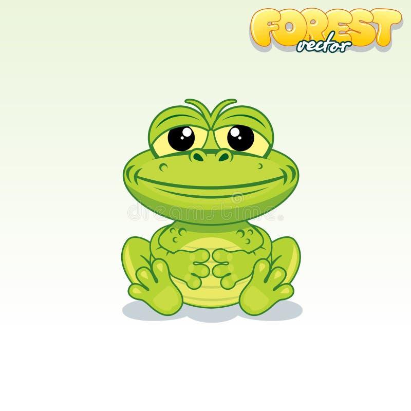 Rana verde de la historieta linda Animal divertido del vector libre illustration