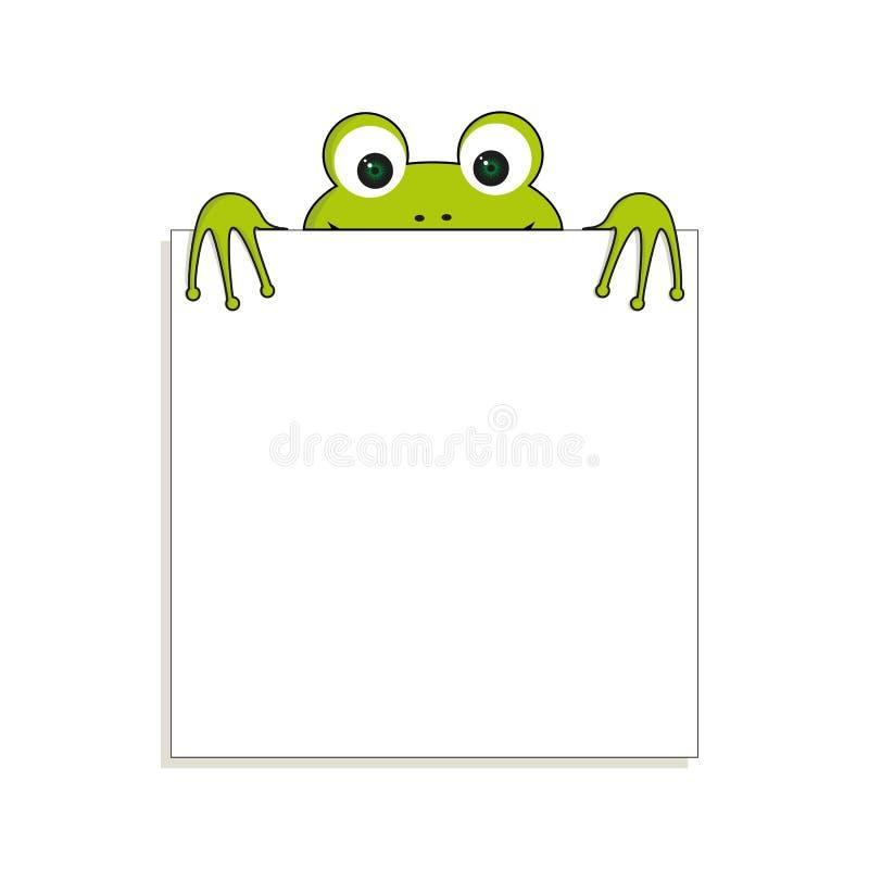 Rana verde isolata con Libro Bianco Ha posto per tutto il testo Può usare per la nota o lo spazio in bianco illustrazione di stock