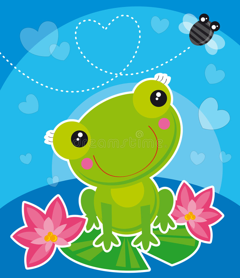 Rana y mosca stock de ilustración