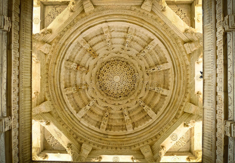 Ranakpur Jain Temple dome ceiling stock image