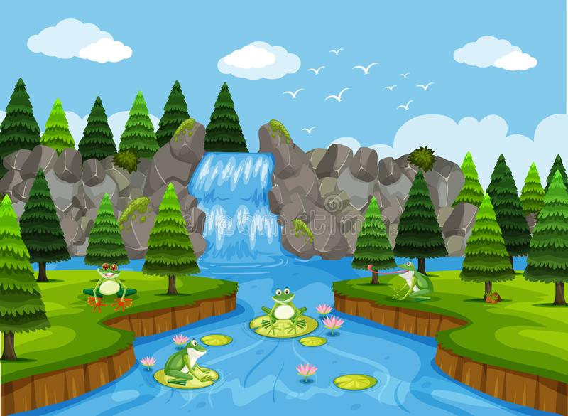 Ranas en escena de la cascada libre illustration