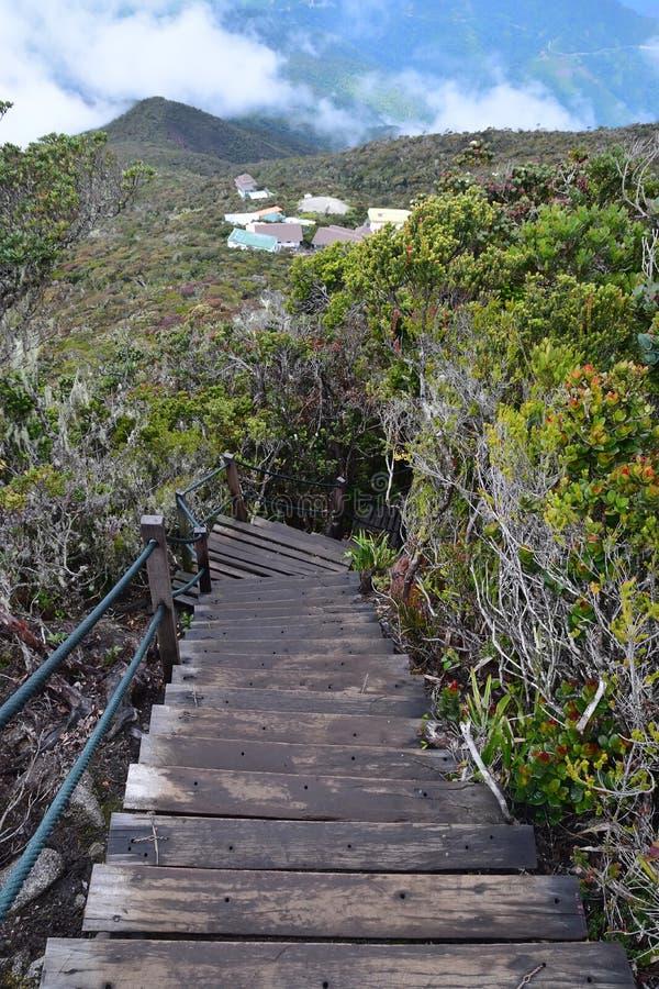 Ranau Trail of Mount Kota Kinabalu hike with Laban Rata buildings visible at the bottom royalty free stock photography