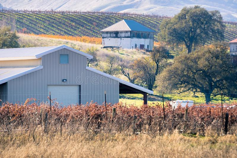 Ranch buildings on the hills of east San Francisco bay, Livermore, California stock photos
