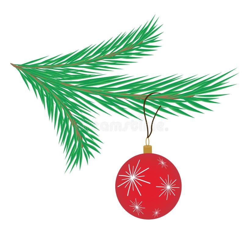 Ranch des Weihnachtsbaums und des Weihnachtsballs, lokalisiert auf weißem Ba vektor abbildung