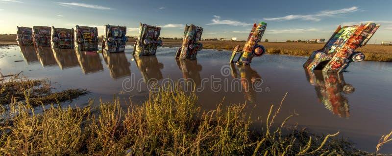 Ranch di Cadillac fuori di arte di Amarillo il Texas - di Americana installare immagini stock libere da diritti