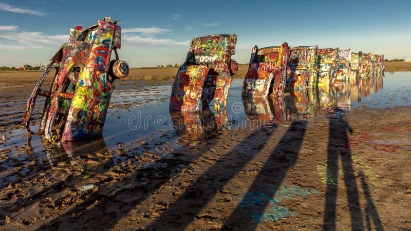 Ranch di Cadillac fuori di arte di Amarillo il Texas - di Americana installare fotografie stock