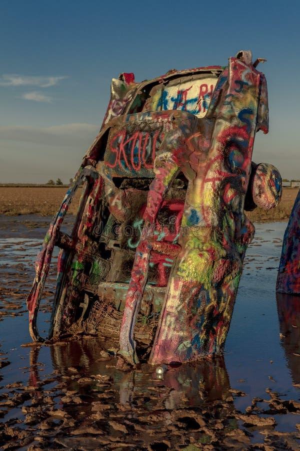 Ranch di Cadillac fuori di arte di Amarillo il Texas - di Americana installare immagine stock