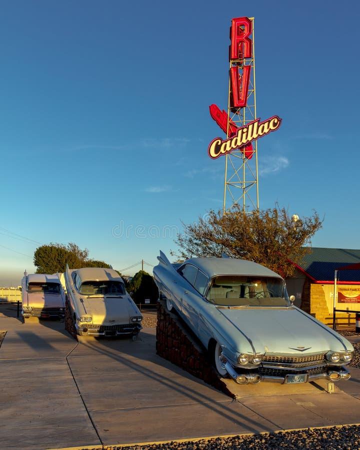 Ranch di Cadillac fuori di arte di Amarillo il Texas - di Americana installare fotografie stock libere da diritti
