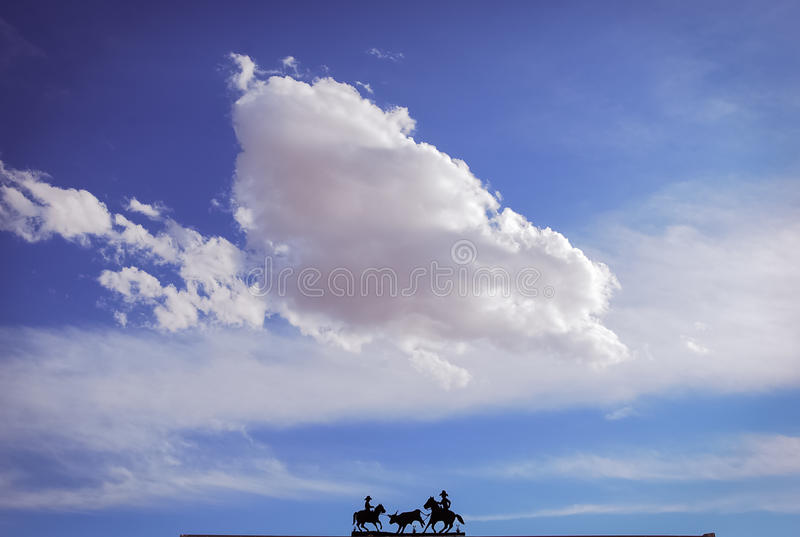 Ranch Entrance Silhouette. The top element of a ranch in Texas royalty free stock photo