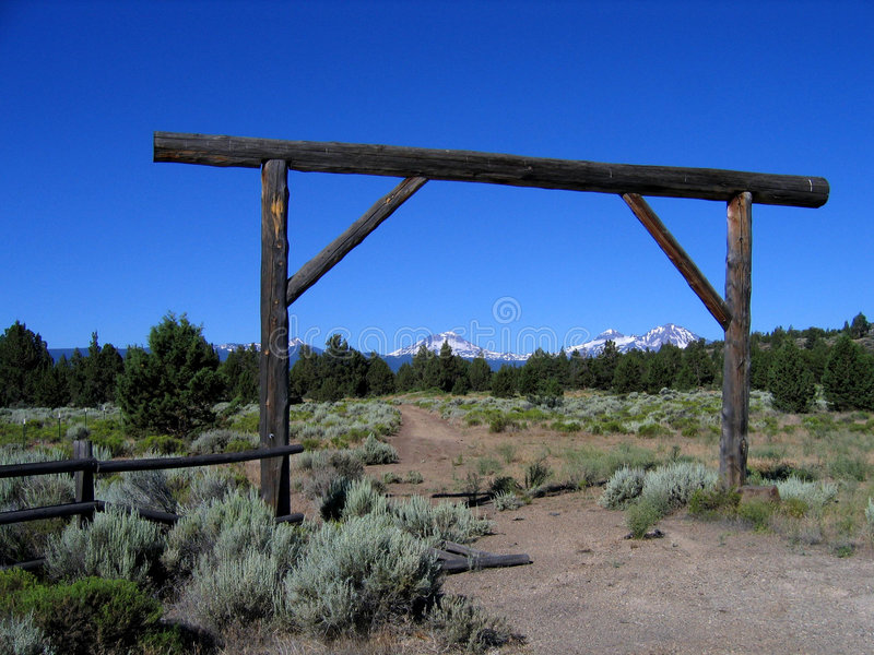 Ranch entrance with Three Sisters stock images