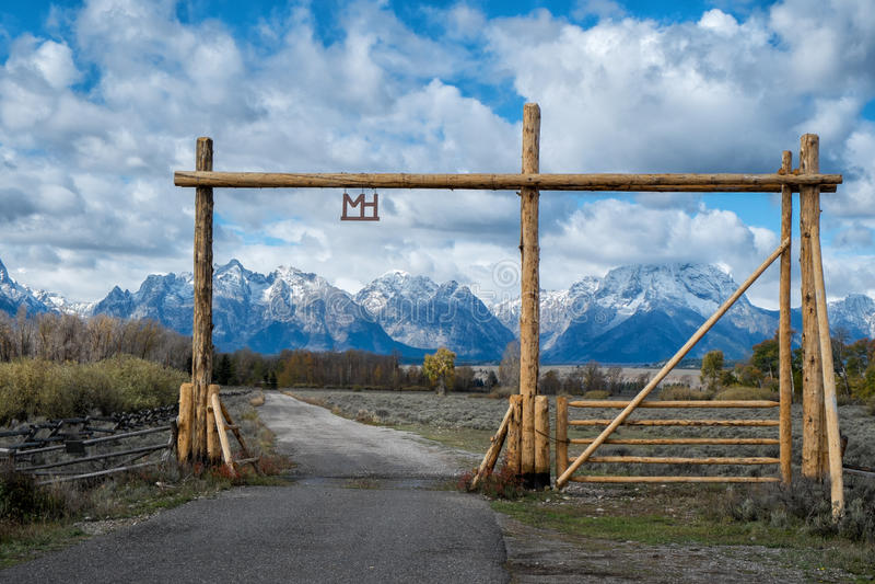 Ranch gate in Grand Teton stock photography