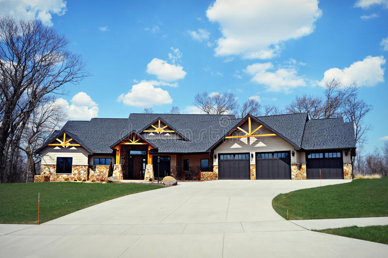 Ranch House. A gorgeous, new construction, ranch home in a new subdivision stock photos