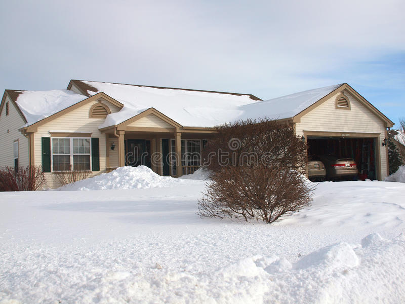 Ranch House in the winter. Single family ranch home, with a double garage, and blue sky, in the snow. Photo taken on Feb 2, 2011 royalty free stock photo