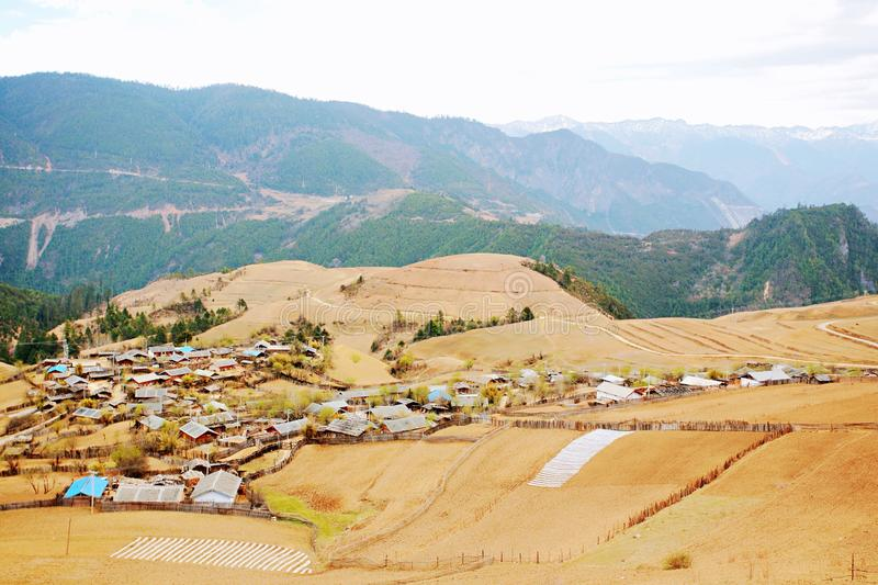 Shangri-La. The ranch and residence of the Tibetans in Shangri-La, Yunnan stock photo