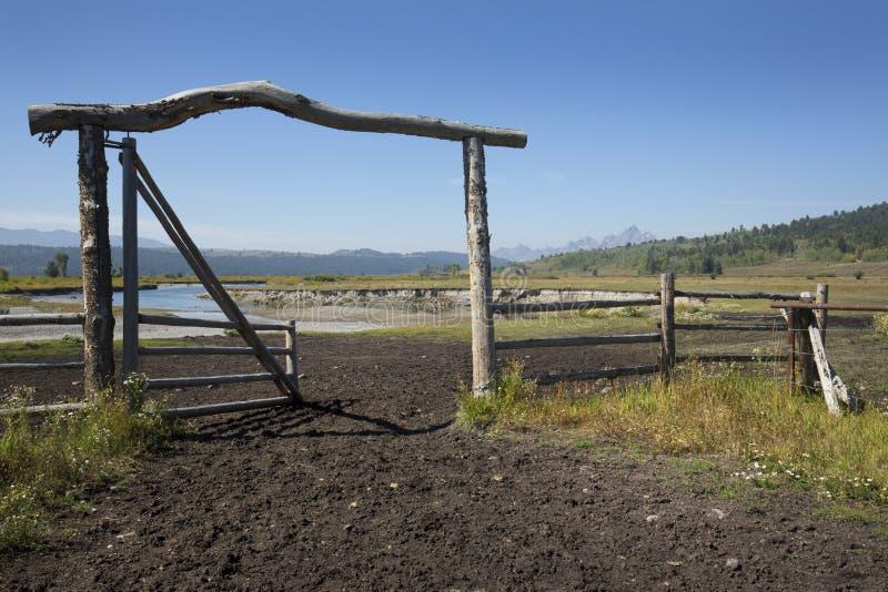 Rancheingangstor in der Weide, Bank von Büffel-Gabel-Fluss, Wyoming stockfotos
