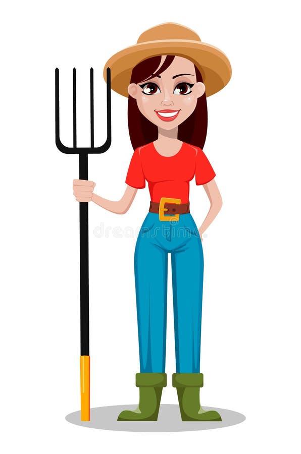 Rancheiro alegre da mulher do jardineiro que guarda o forcado ilustração stock