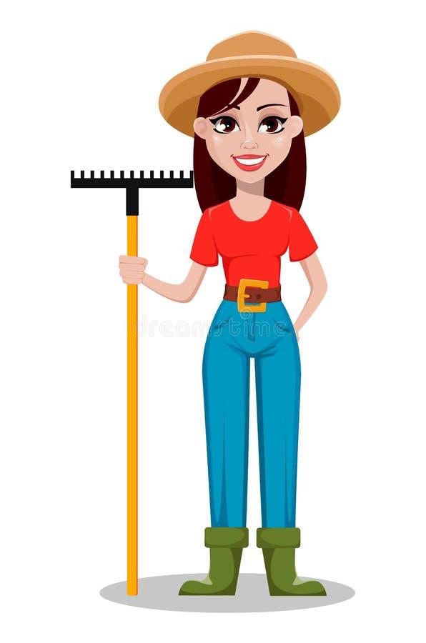 Ranchero alegre de la mujer del jardinero que sostiene el rastrillo stock de ilustración