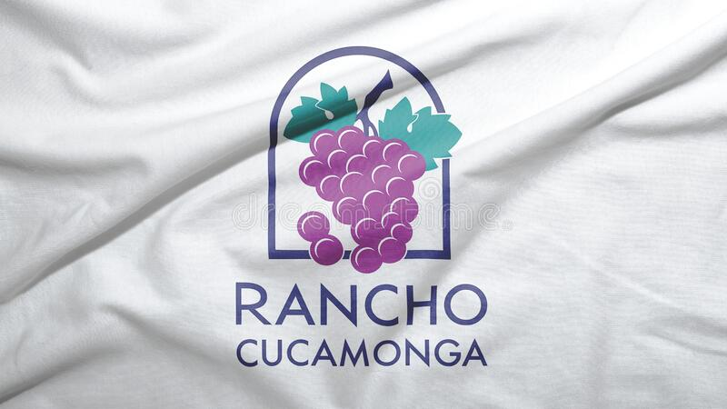 Rancho Cucamonga of California of United States flag background. Rancho Cucamonga of California of United States flag on the fabric texture background stock illustration
