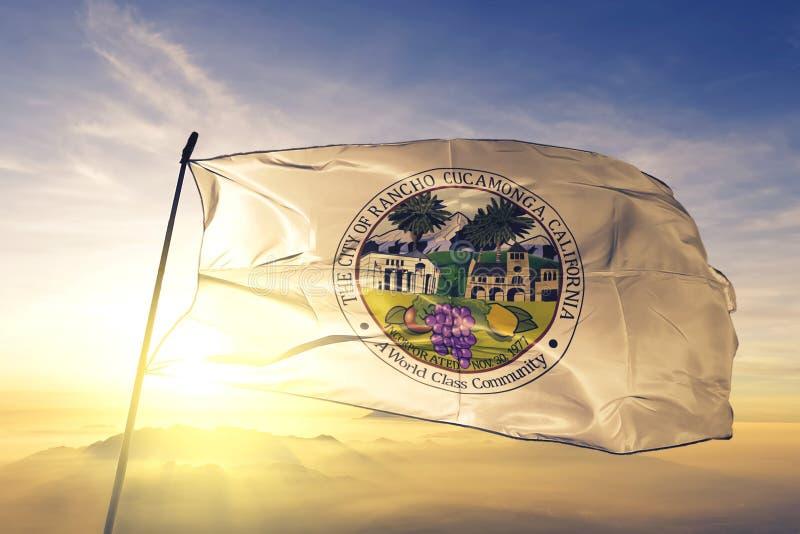 Rancho Cucamonga of California of United States flag waving on the top. Rancho Cucamonga of California of United States flag waving royalty free stock photography