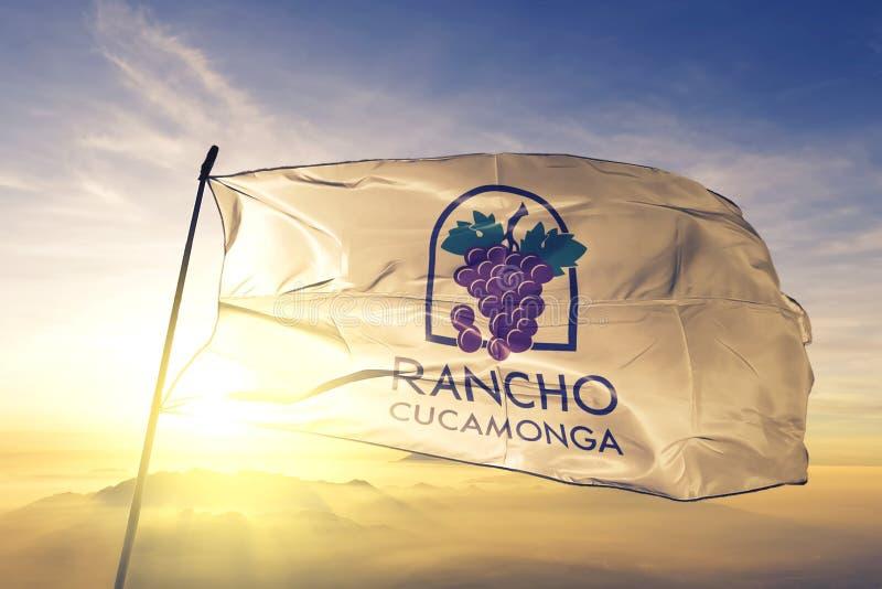 Rancho Cucamonga of California of United States flag waving on the top. Rancho Cucamonga of California of United States flag waving royalty free stock photos