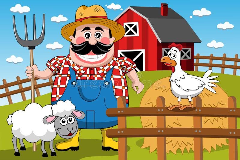 Rancho dos animais de Farm Cartoon Animal do fazendeiro ilustração royalty free