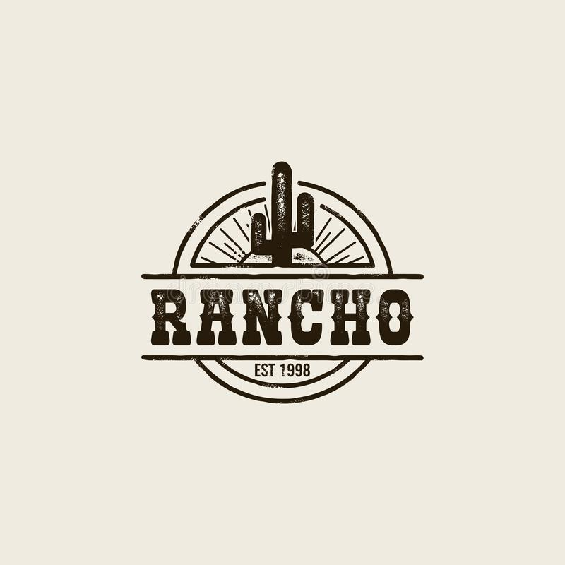 Rancho kaktusa logo ilustracja wektor