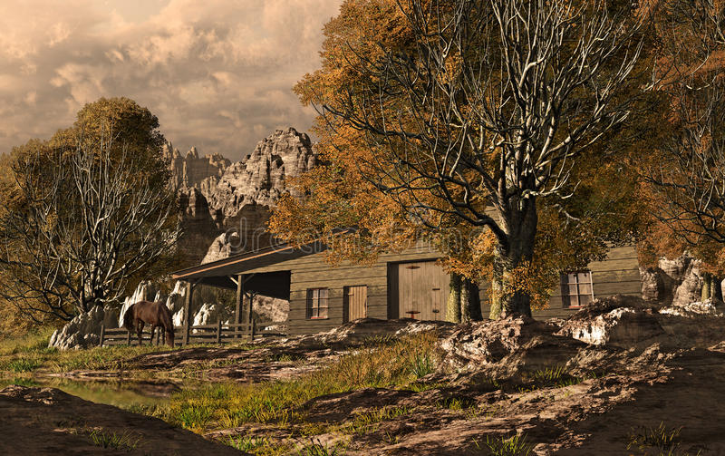 Rancho ocidental ilustração stock