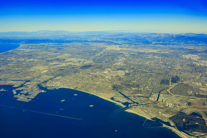 Rancho Palos Verdes from top. Aerial view of Rancho Palos Verdes in airplane stock images
