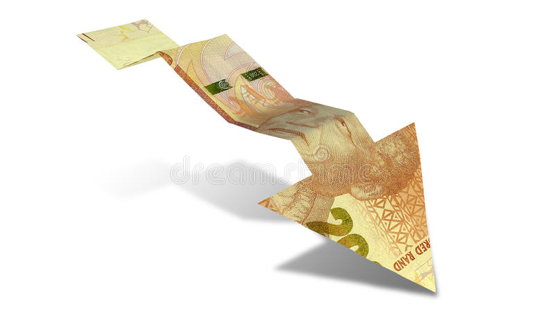 Rand Bank Note Downward Trend pil arkivbild