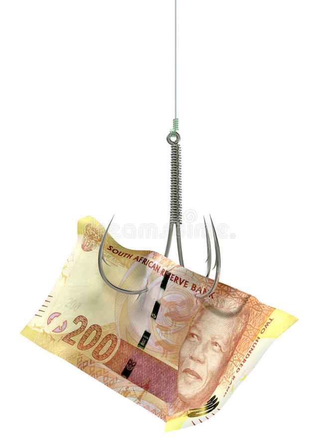 Rand Banknote Baited Hook photo stock