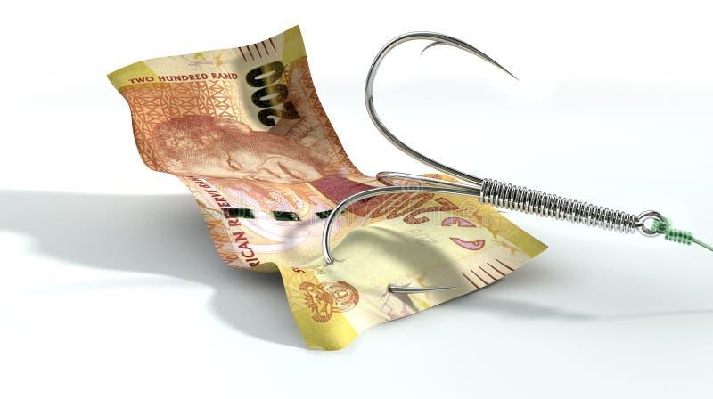 Rand Banknote Baited Hook arkivbild
