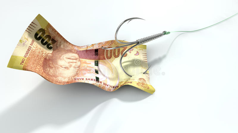 Rand Banknote Baited Hook image stock
