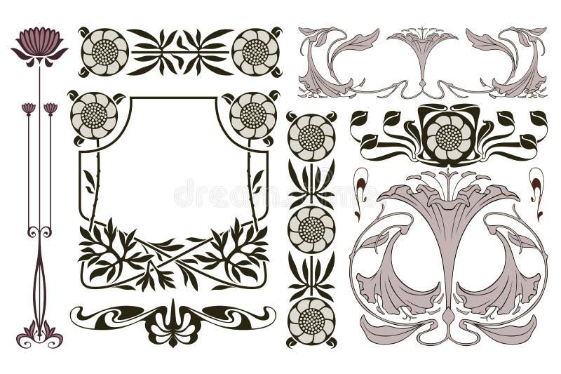 Rand der Farbband-, Lorbeer- und Eichenblätter Anzeigen, Flieger, Netz, Hochzeit und andere Einladungen oder Grußkarten vektor abbildung