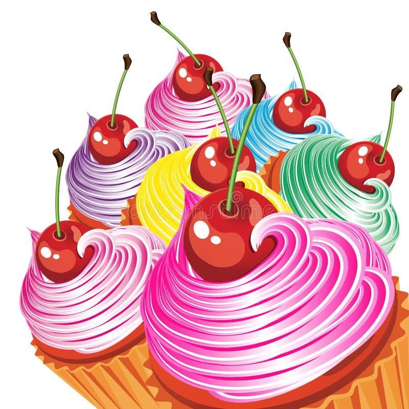 Rand der Kuchen mit Sahne und Kirschen. vektor abbildung