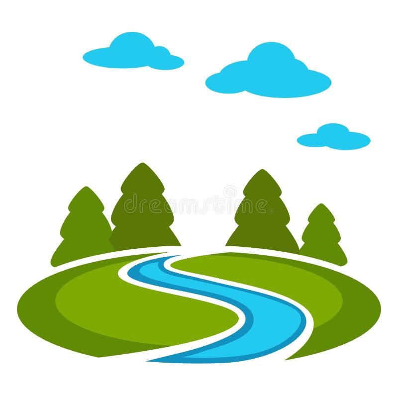 Rand des Waldes mit grüner Wiese und blauem Fluss lizenzfreie abbildung