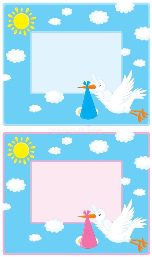 Rand mit einem Storch und neugeborenes lizenzfreie abbildung