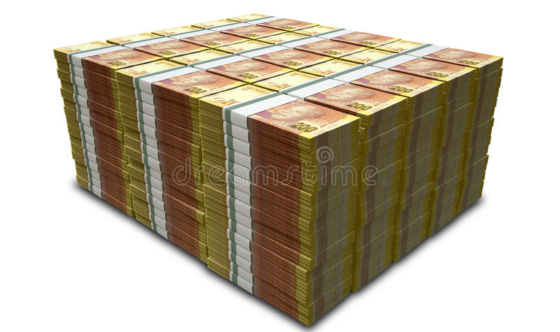 Rand Notes Pile. A pile of stacked wads of south african rand banknotes on an isolated background stock images