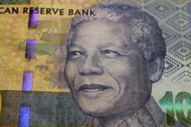 South African rand with Nelson Mandela. The rand is the official currency of South Africa stock images